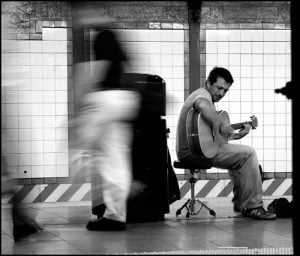 Street performer in NY subway