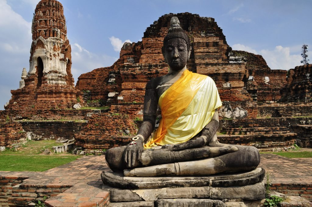 A Buddha in the Ayutthaya Ruins of Thailand