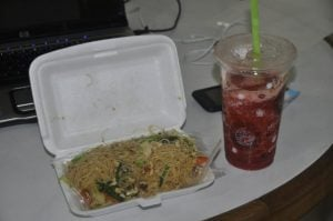 Food is cheap. Noodles and a strawberry banana smoothe: 40 baht