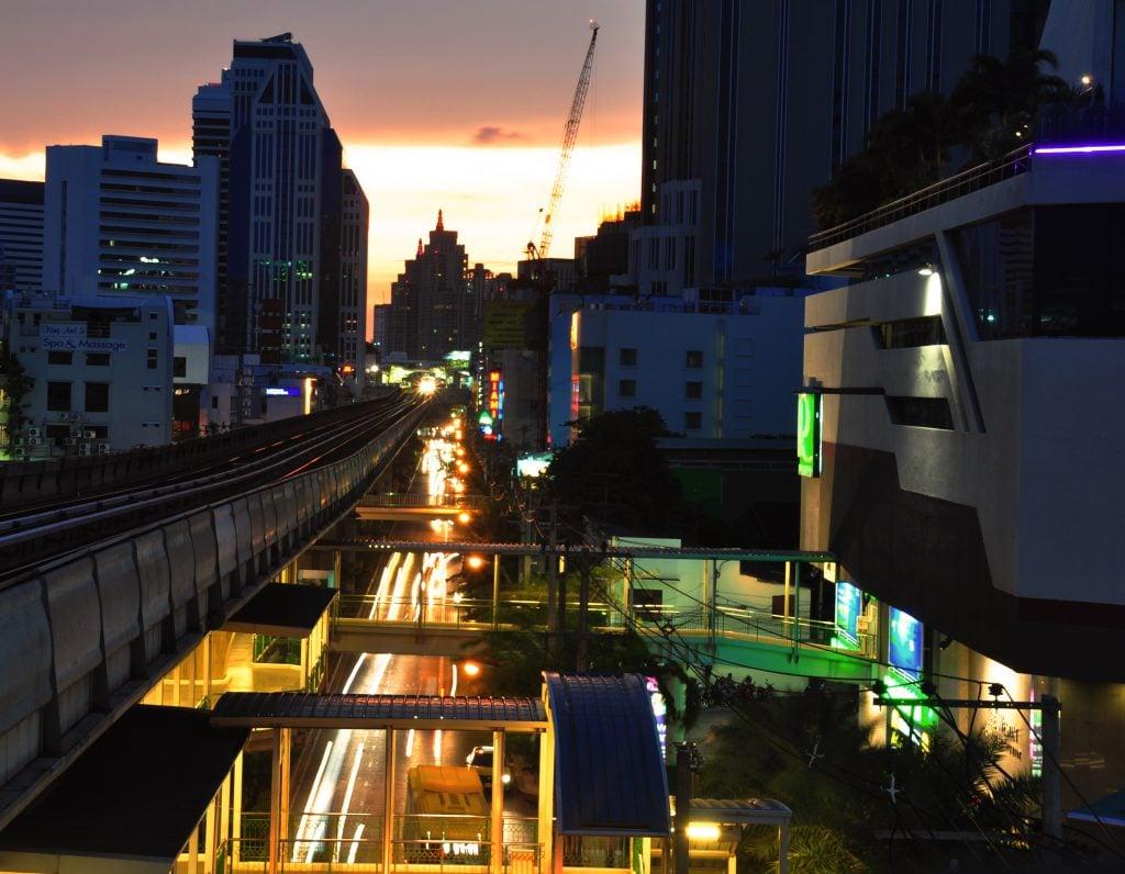 asok, bangkok, sunset, bts