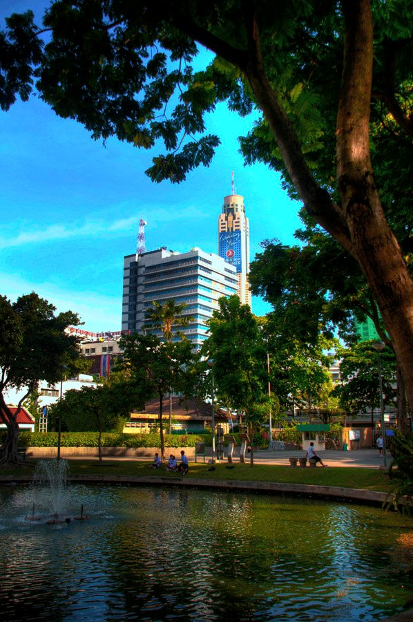 baiyoke sky tower as seen from a park in Victory Monument, Bangkok, Thailand