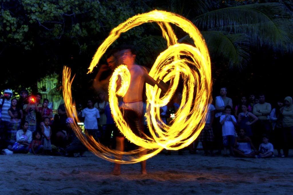 Fire dancer on kuta beach