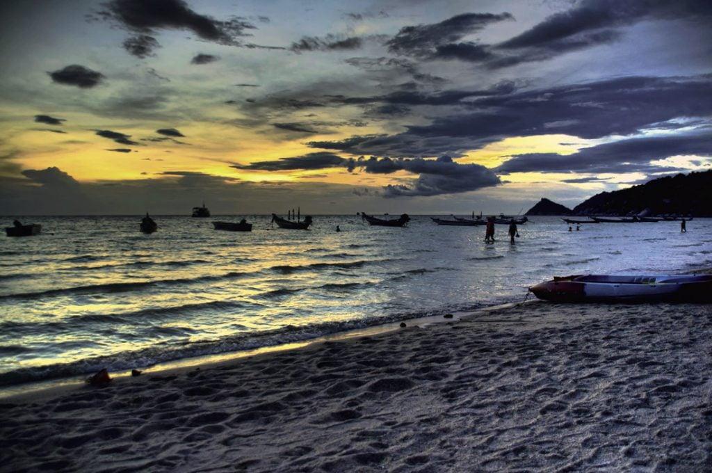 Sunset on Sairee Beach in Ko Tao, Thailand