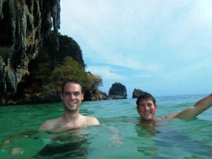 Ryan Martin and Sean Ogle swimming in Thailand