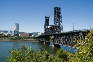 View of Steel Bridge in Portland Oregon