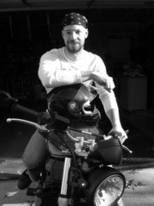 John Devries on his motorcycle