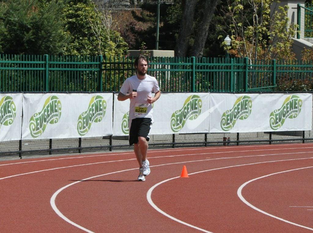 Sean Ogle running the Eugene Marathon.