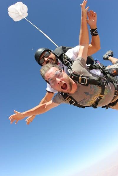 Sean Ogle skydiving over Wadi Rum, Jordan