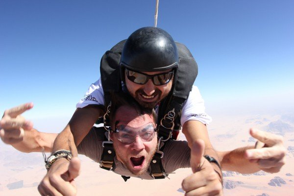 Sean Ogle skydiving over Wadi Rum, Jordan