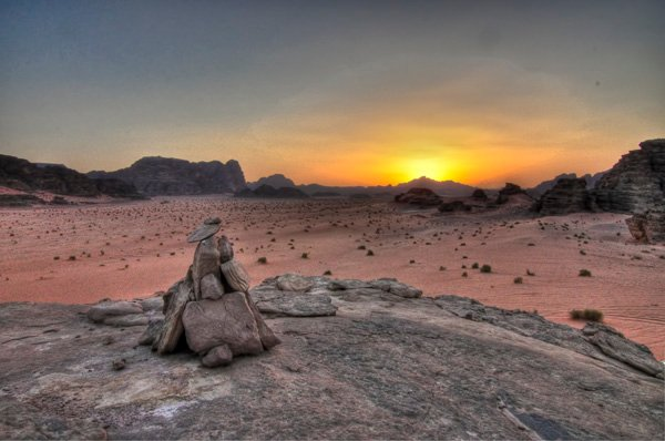 Cairn at Sunset in Wadi Rum, Jordan