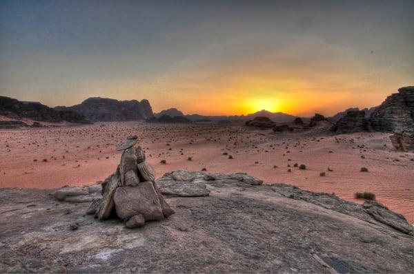 Cairn at Sunset in Wadi Rum, Jordan