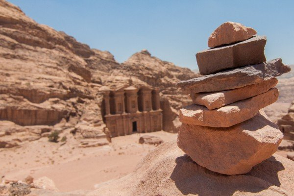A cairn overlooking the view of the Monastery in Petra