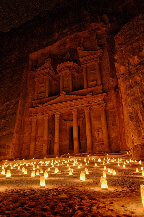 The Treasury at Petra by Night