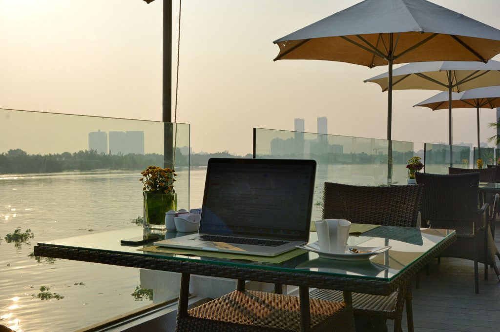 "My ""Office"" earlier this year on the banks of the Saigon River in Vietnam."