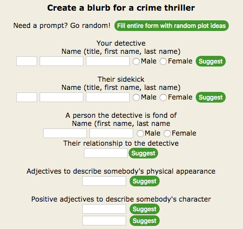 daily writing tools - plot generator