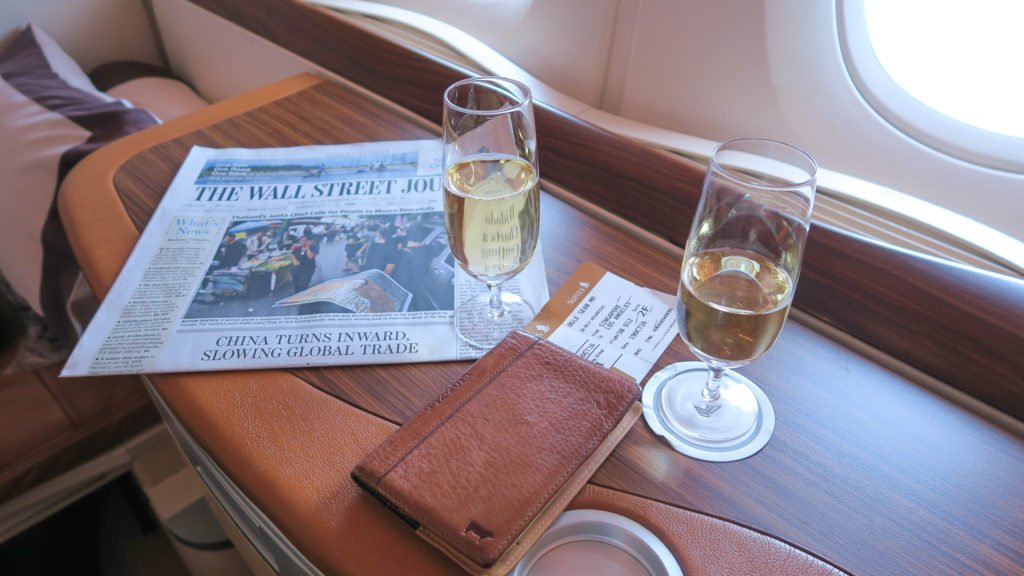 Krug and Dom Perignon onboard Singapore Suites Class