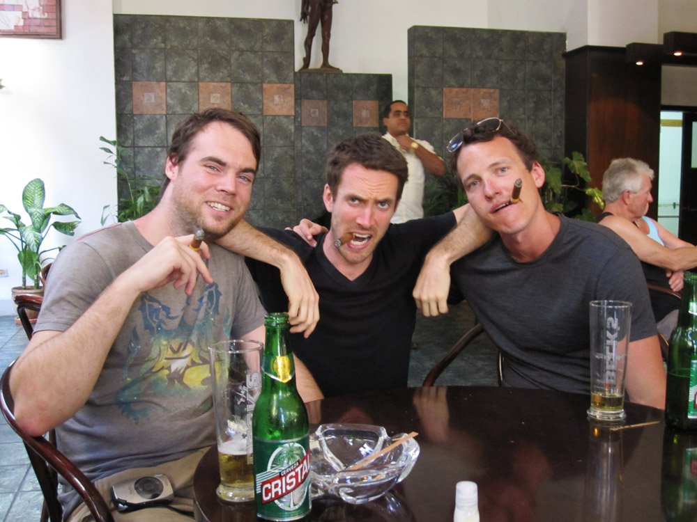Derek Johanson, Clay Boeschen and Sean Ogle at Hotel Ambos Mundos in Havana, Cuba