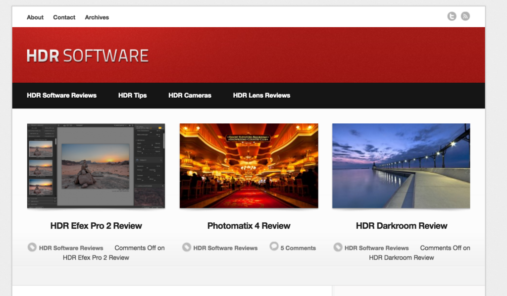 The HDR Software home page.