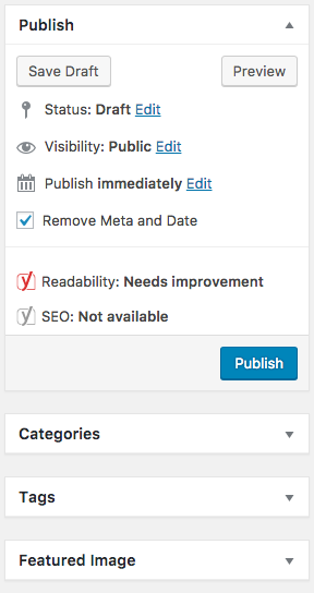 Wordpress Publish Options