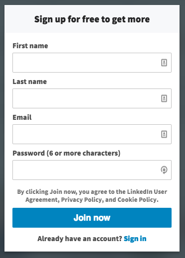 linkedin profile sign up