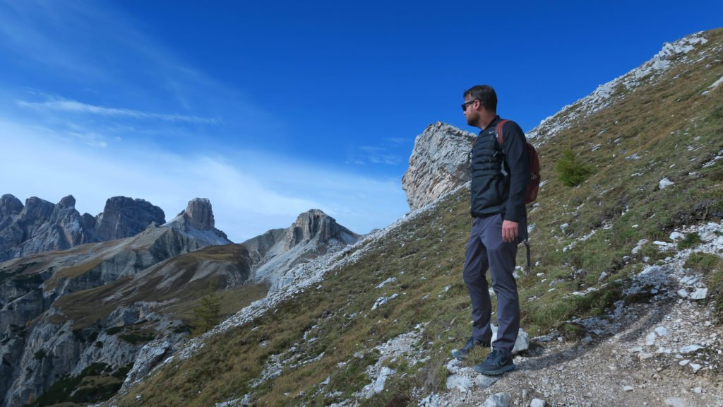 Bluffworks travel pants in the Italian Dolomites