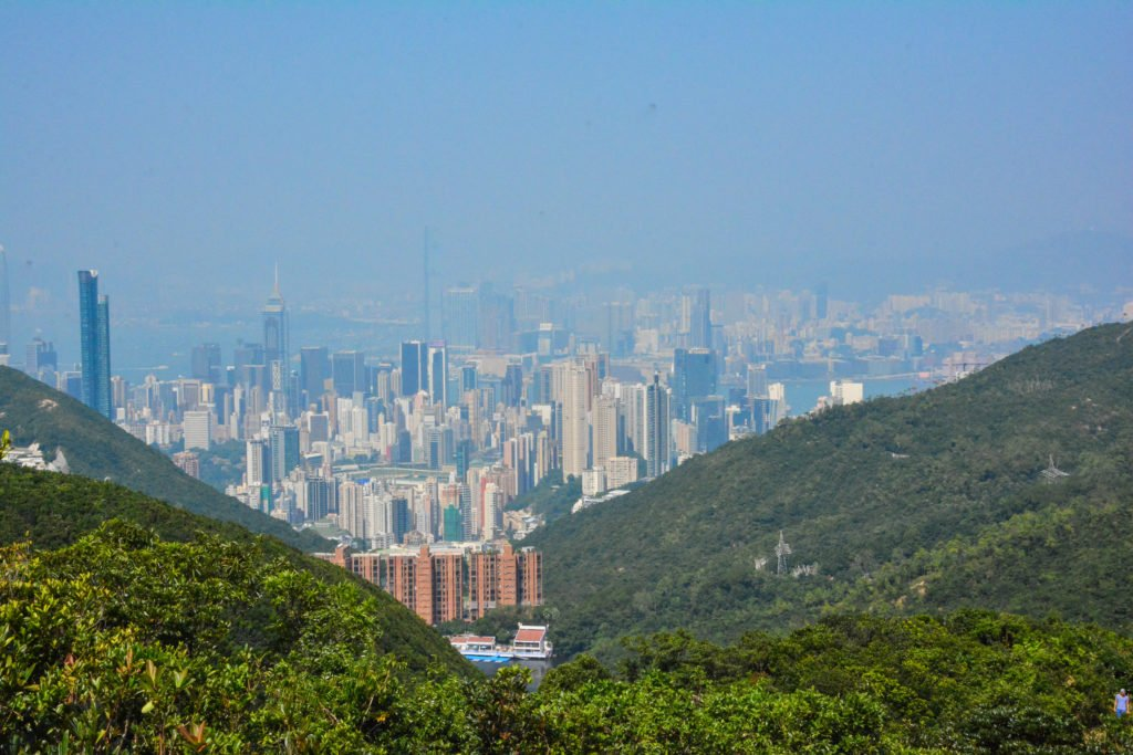 Looking back at Central Hong Kong from the start of Twin Peaks hike.