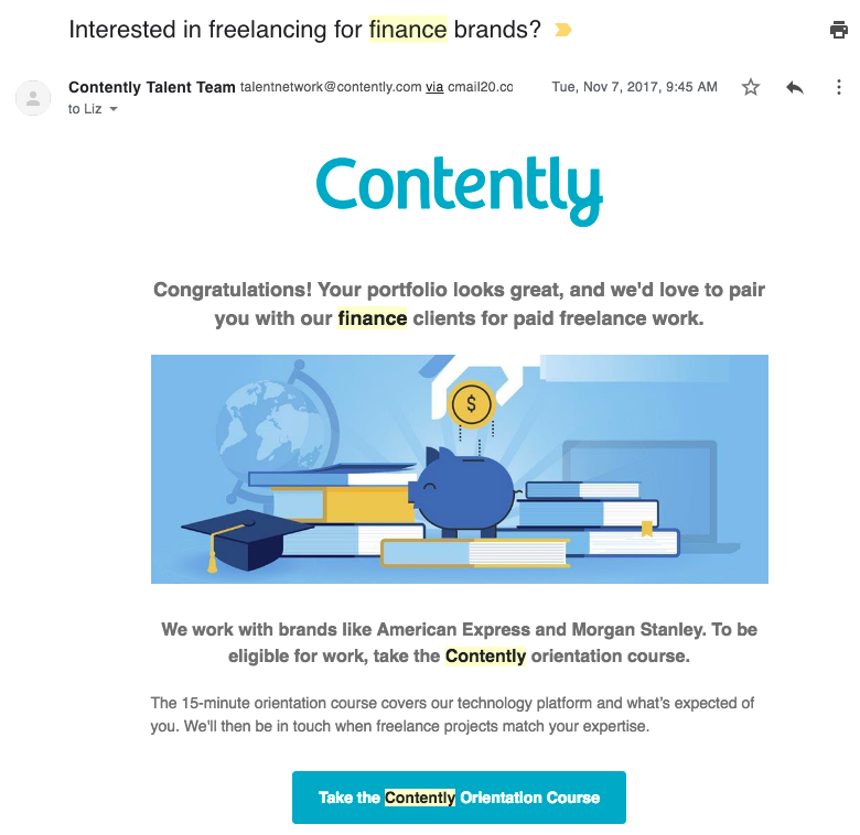 contently finance email