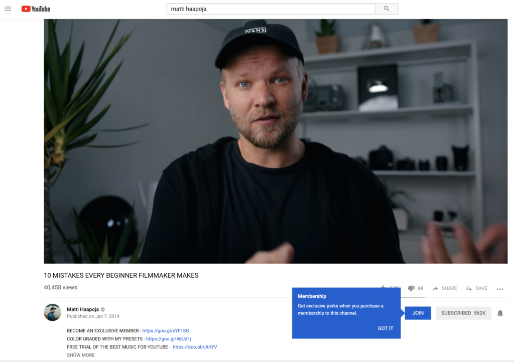 An example of the new YouTube membership on Matti Haapoja's channel.