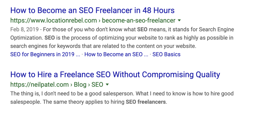 SEO freelancer search result