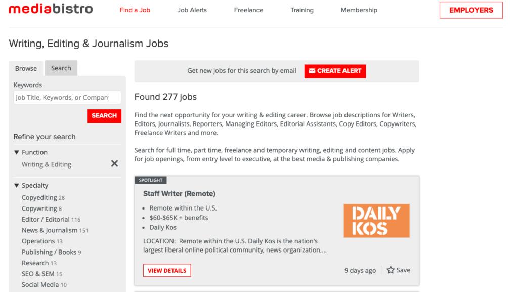 freelance writing job boards mediabistro