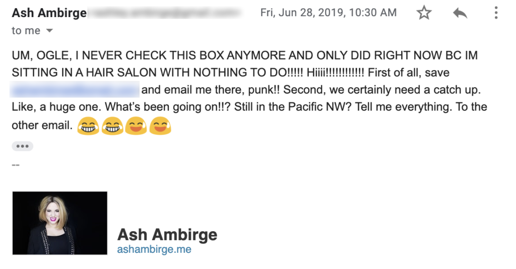 Email from Ash