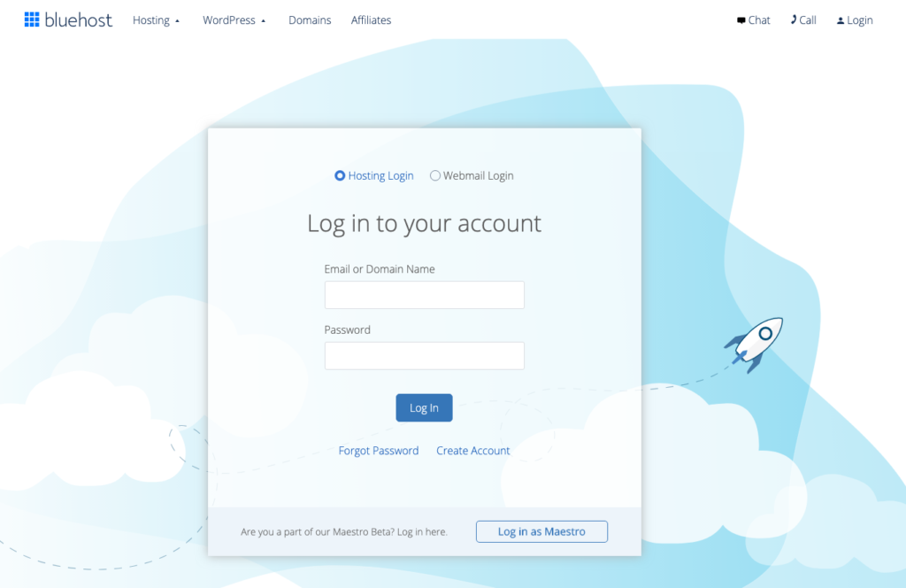 bluehost login page